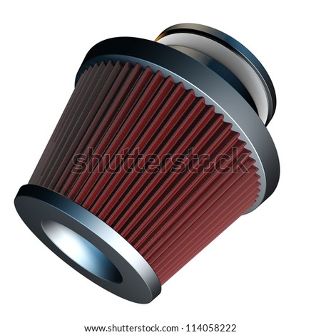 air cone filter of zero resistance. Vehicle Modification Accessories. isolated on white background High resolution 3d render - stock photo