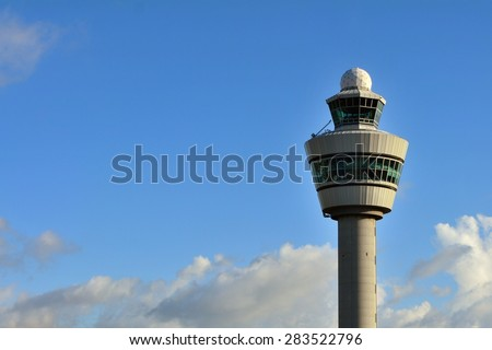 Air control tower at Schiphol airport, Netherlands - stock photo
