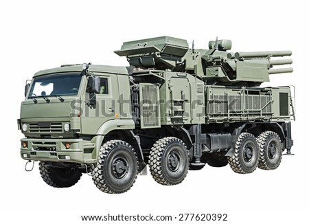 air defense missile-gun complex is isolated on a white background. Russian military equipment - stock photo