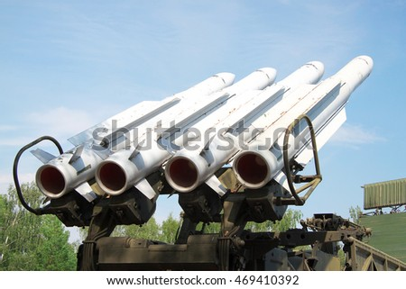 Air defense missiles on position ready to be launched