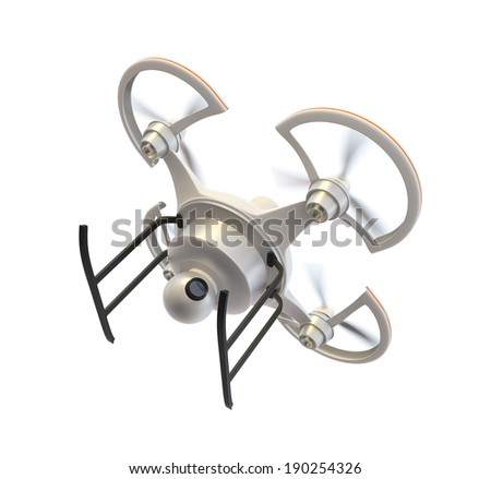 Air drone with camera on white background - stock photo