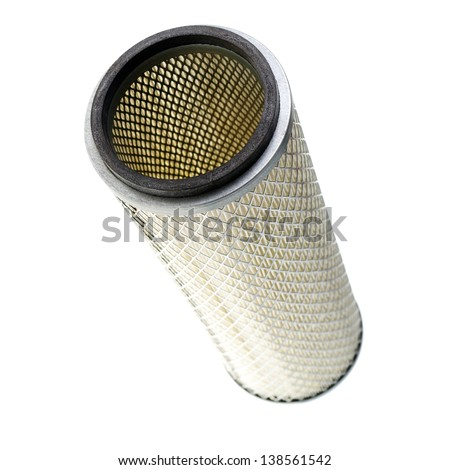 Air filter isolated on white, engine parts