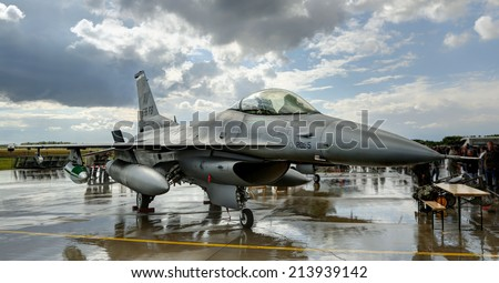 "Air Force Base LAAGE, GERMANY - AUGUST 23: General Dynamics F-16 jet during static display on 23 August, 2014 during the German Air Force Open Day at Tactical Air Force Wing 73 ""Steinhoff"", Germany - stock photo"