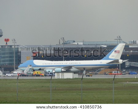 Air Force One on the Hannover Airport. Barack Obama to visit the Hanover Fair 24 / 25.04.2016 - stock photo