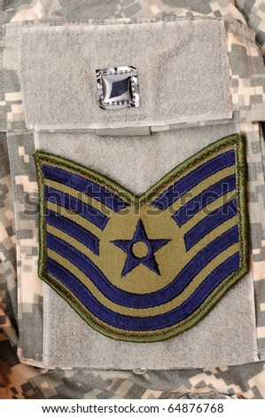 Air Force rank patch on ACU uniform - stock photo