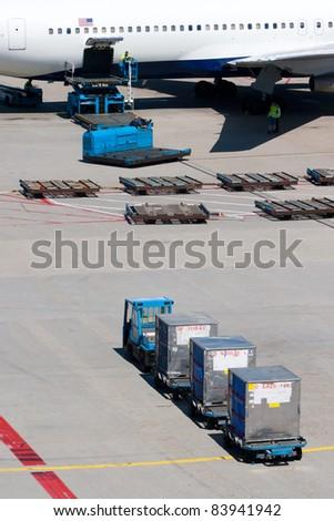 Air freight loading platform. - stock photo