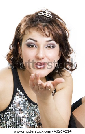 Air kiss of the Queen of a party. - stock photo