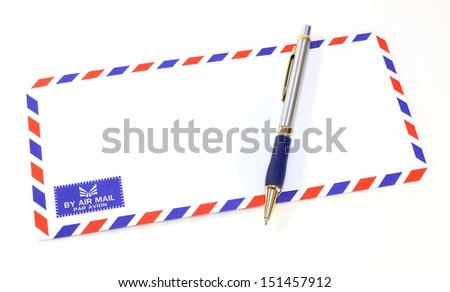 air mail envelope with pen