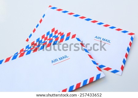 air mail letter envelope isolated on a white background - stock photo