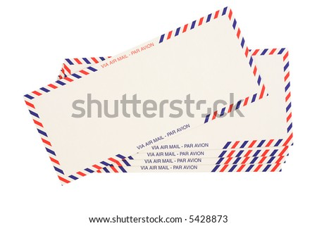 air mail red and blue striped envelopes isolated on white - stock photo