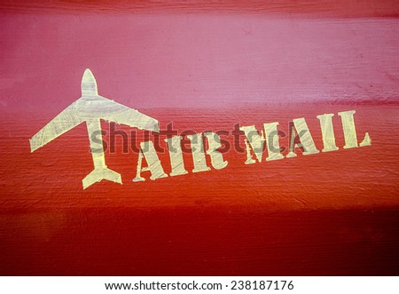Air mail sign on wood wall background - stock photo