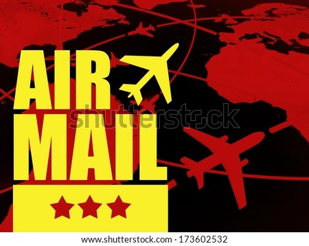 Air mail transport concept, airlines on world map - stock photo