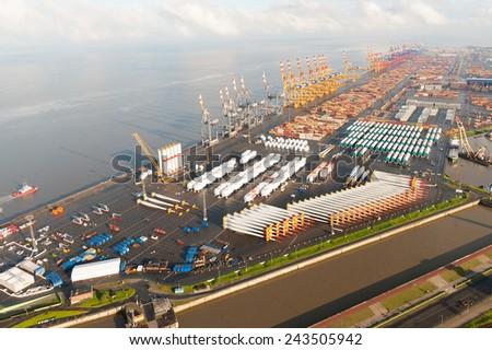Air photo: terminal Bremerhaven - stock photo