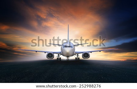 air plane preparing to take off on airport runways use for air transport and airliner business traveling - stock photo