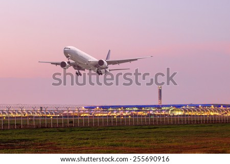 Air plane taking off on airport - stock photo