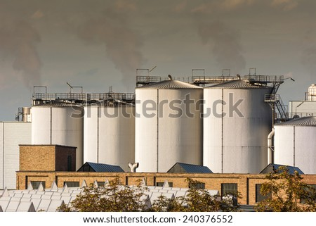 Air Pollution at a Chemical Plant - stock photo