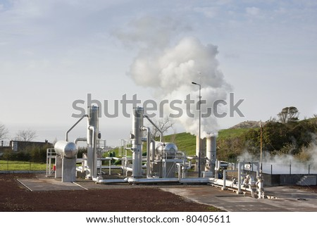 Air pollution by industrial smoke - stock photo