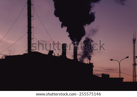 Air pollution concept. Old power plant in a night. - stock photo