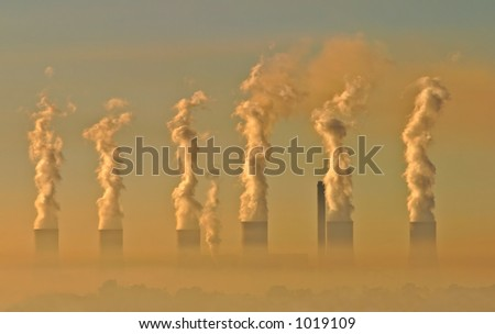Air pollution from an electricity generation plant - stock photo