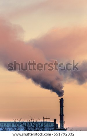 Air Pollution from Smokestacks - colored smoke