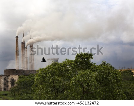 Air Pollution from Thermal Power Plant - stock photo