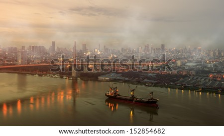 Air pollution in the city - stock photo