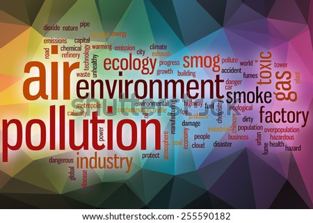 Air pollution word cloud concept with abstract background - stock photo