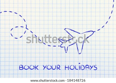 air route and plane trail, booking holidays and the travel industry