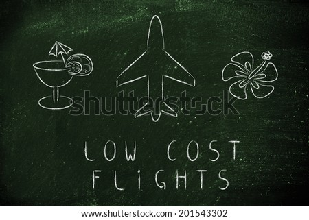 air route and plane trail, booking low cost flights