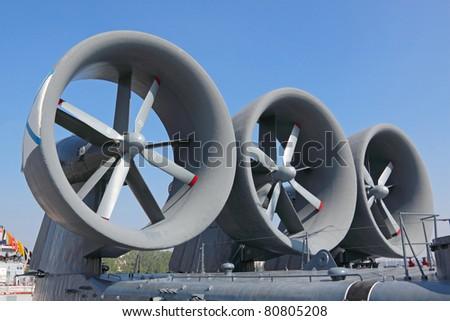 Air screws ship on an hovercraft - stock photo