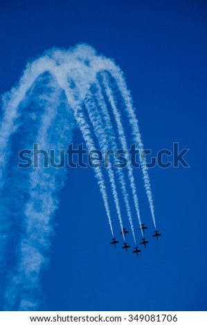 Air show acrobatic formation CIAF Czech republic - stock photo
