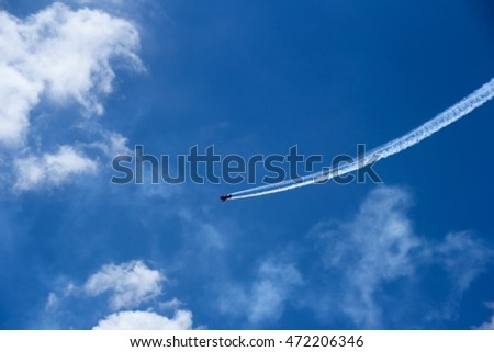 Air show  performed above ocean, selective focus