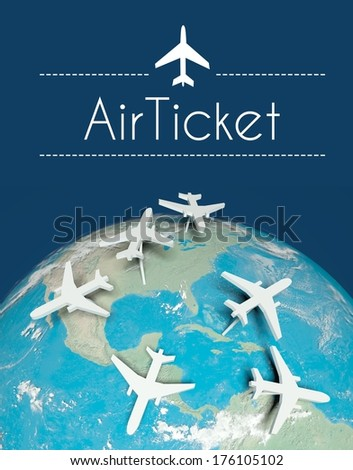 Air ticket travel concept, airplanes on globe - stock photo