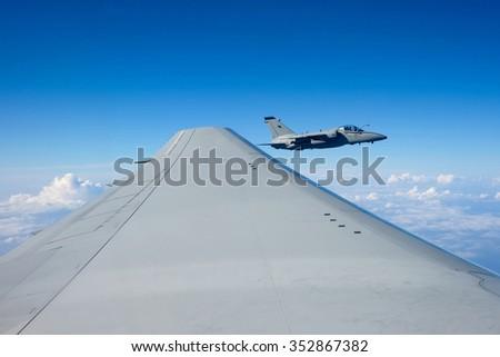 Air to Air AMX jet close up - stock photo