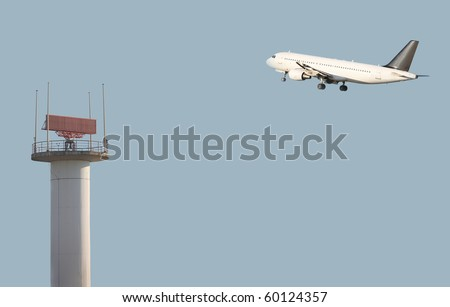air traffic control against blue sky - stock photo