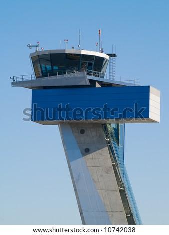 air traffic control tower at Nuremberg airport - stock photo