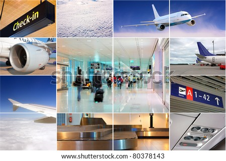Air transport collage - stock photo