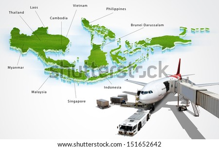 Air transport in ASEAN, concept - stock photo