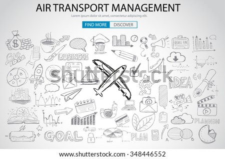 Air Transport Management Concept with Doodle design style :finding routes, monetization strategy, increase traffic. Modern style illustration for web banners, brochure and flyers. - stock photo