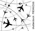 Air travel. Airplanes on their destination routes. Illustration - stock photo