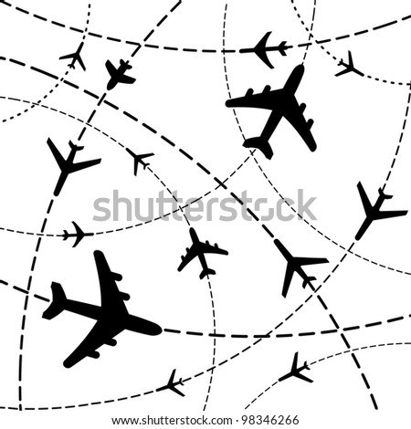 Air travel. Airplanes on their destination routes. Illustration - stock photo