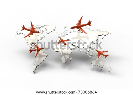 air travel around the globe - stock photo