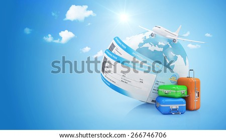 Air Travel Concept. Earth Globe with Airline Boarding Pass Tickets, Luggage and Flying Passenger Airplane on gradient background with clouds and sun. ( Elements of this image furnished by NASA ) - stock photo
