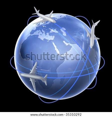 Air travel concept illustration - stock photo