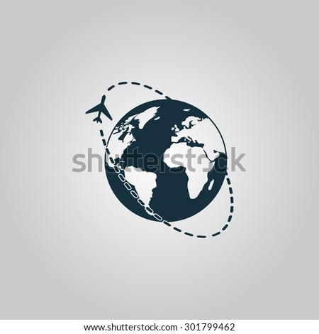 Air travel destination. Flat web icon or sign isolated on grey background. Collection modern trend concept design style  illustration symbol - stock photo