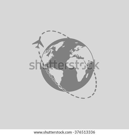 Air travel destination. Grey simple flat icon - stock photo