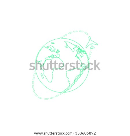 Air travel destination. Outline symbol on white background. Simple line icon