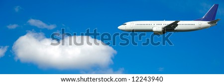 Air travel - Plane and cloud on blue sky