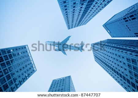 air travel with modern building in beijing,China - stock photo