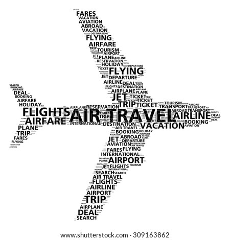Air travel word cloud for airline booking and flight search - stock photo